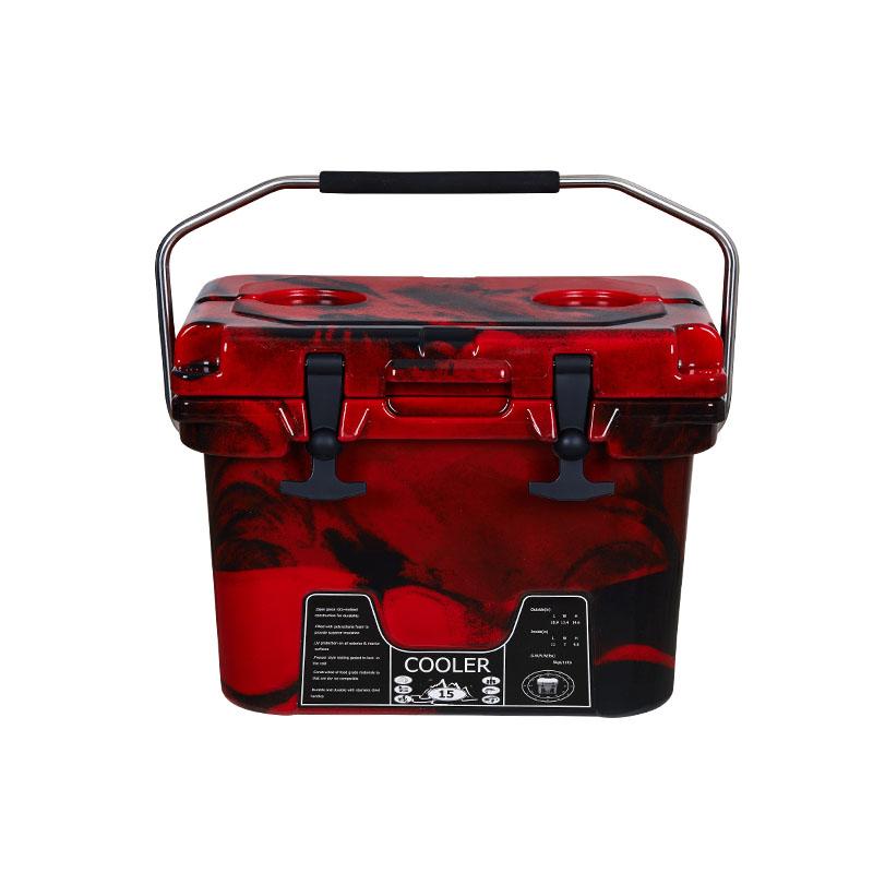 15L迷彩红滚塑冷藏箱